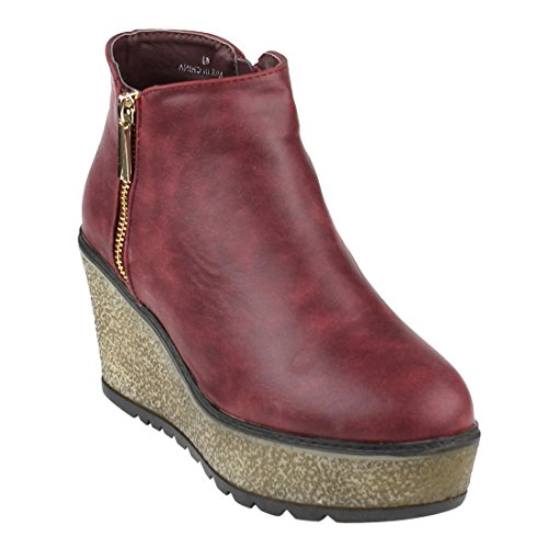Red Leather Wedge (Beston EJ34 Women's Side Zipper Platform Wedge Ankle Booties Half Size Small, Color Wine, Size:10)
