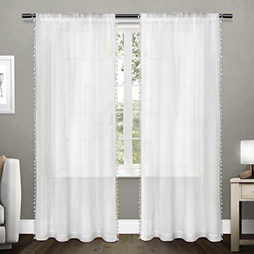 White Silk Tassel (Exclusive Home Curtains Tassels Textured Sheer Bordered Tassel Applique Rod Pocket Window Curtain Panel Pair, Winter White, 54x84)