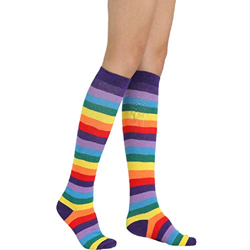 Unisex Striped Knee High Socks Rainbow Women Girls Over Calve Athletic Soccer Tube Cool Fun Party Cosplay Socks, Rose Red+Black,One Size 6-11 -