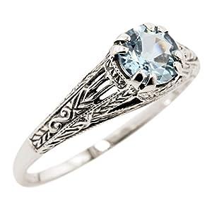 Vintage Style Sterling Silver Filigree 1.00ct Sky Blue Topaz Ring