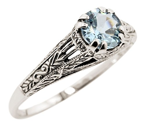 Vintage Style Sterling Silver Filigree 1.00ct Sky Blue Topaz Ring