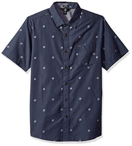 Volcom Men's Frequency Dot Modern Fit Woven Button Up Short Sleeve Shirt, Midnight Blue Medium