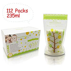 Breast Milk Storage Bags, Ready to Use Milk Storage Bags, Breastfeeding Freezer Storage Container Bags for Breast Milk Comes Pre Sterilized & BPA Free with Accurate Measurements & Leak Proof (112 Packs)