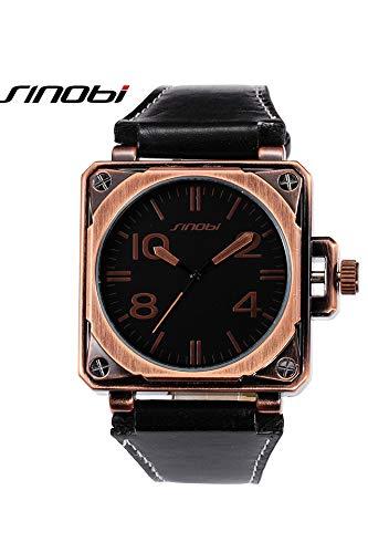 9485 Big boy Sports Personality Belt Men's Unique Square Quartz Watch (red Patina