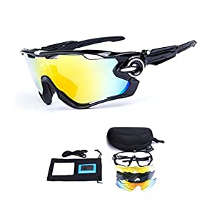 My case diy store Polarized Sports Sunglasses with 3 Interchangeable Lenses UV400 Protection Cycling Glasses With 5 Interchangeable Lenses for Cycling, Baseball ,Fishing, Ski Running ,Golf Black