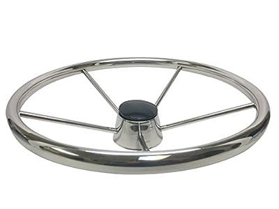 PactradeMarine Destroyer Style SS304 Five Spoke Steering Wheel With Teak Cap