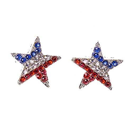 VK Accessories American Flag Earring Studs Blue and Red Crystal Flag Pierced Earrings Star-shape Earrings