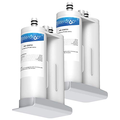 Waterdrop Refrigerator Water Filter, Compatible with EWF01, FC-300, FC300, EFF-6018A, and 241988703, Pack of 2