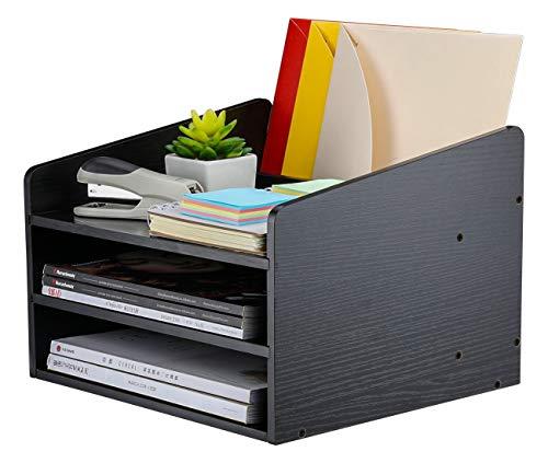 PAG Office Supplies Wood Desk Organizer Desktop File Letter Holder with Adjustable Drawer, 4 Compartments, Black Desktop Organizer 4 Compartment Wood