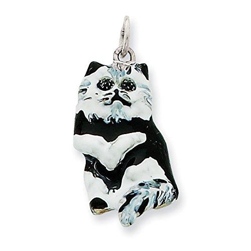 Argent 925/1000-Émail noir et blanc-Breloque chat-JewelryWeb