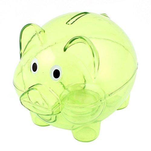 SODIAL Plastic Collectible Piggy Bank Coin Savings Money Cash Box Clear Green ()