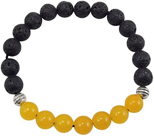 Volcanic natural lava yoga meditation healing wrist mala bracelet CL-9 (Lava and 7 Yellow Jade) Black Solar Bracelet