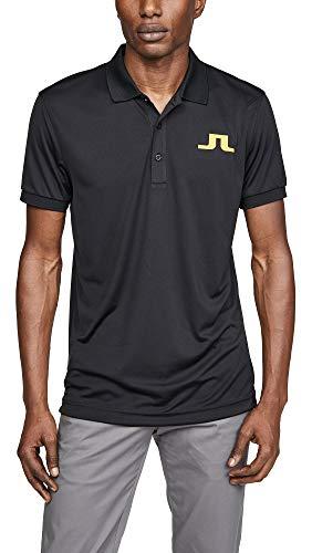 J.Lindeberg Men's Big Bridge Jersey Polo Shirt, Black, Medium