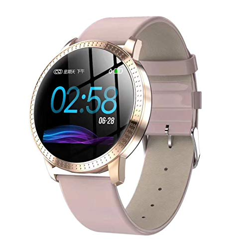 Bond CF18 Color Screen Smart Wristband Heart Rate Blood Pressure Monitor Fitness Tracker Bracelet Multi Sport Mode Smart Band for Android iOS Lady's Gift (Pink)