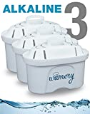 Water Filter Replacement 3Pack. Fits Wamery, Lake Ind, and Mavea Pitchers. NSF ANSI Certified Cartridges. Remove harmful Metals and Chemicals. Purify kitchen tap & sink faucet (ALKALINE: Ceramic)