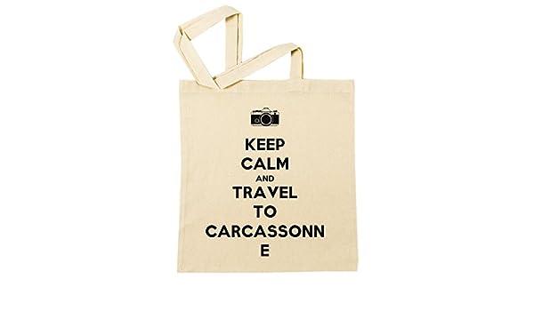 Keep Calm And Travel To Carcassonne Bolsa De Compras Playa De Algodón Reutilizable Shopping Bag Beach Reusable: Amazon.es: Hogar