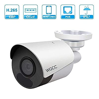 4MP Poe IP Bullet Camera Super HD IR Day/Night Vision with ONVIF H.265/3D DNR 3.6mm Lens Security Bullet Camera by WGCC