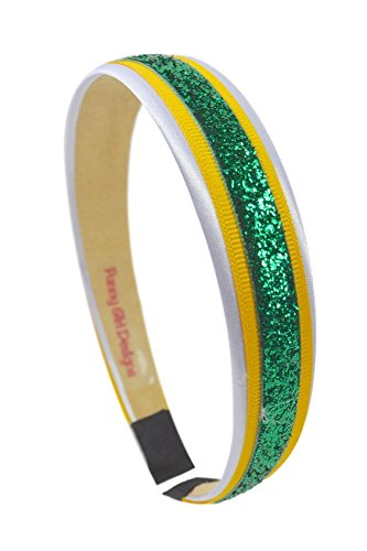Football Team Fan Glitter and Grosgrain Arch Headband by Funny Girl Designs (GREEN BAY)