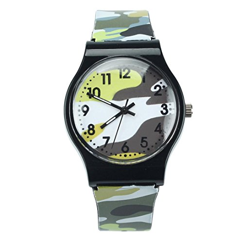 (Han Shi Kids Watch Camouflage Children Fashion Silicone Quartz Wristwatch Alarm Clock (Yellow, L))