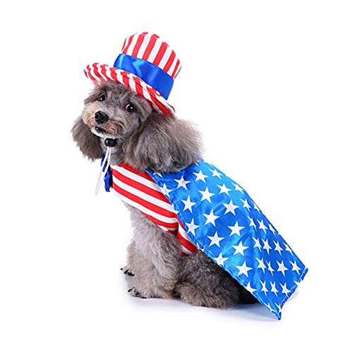 WORDERFUL Pet Dog Costume American USA Flag Harness with Vivid White Stars Design Stripes Clothes for Memorial Day for Dogs (M, Boys)