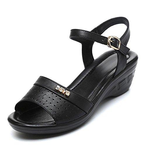QL@YC Rauen Sandalen Sommer Komfortable High Slope Mit GroßEn Yards Leder Weichen Bottom Non Slip Kleid Damenschuhe , black , 36