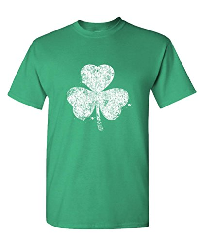 St Patricks T Shirt (SHAMROCK distressed st paddys day shamrock - Mens Cotton T-Shirt, S, Green)