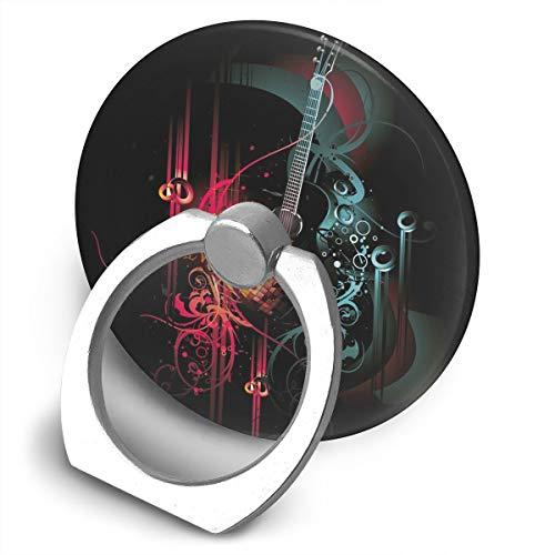 Round Finger Ring Cell Phone Holder Guitar Digital Art Image 360 Degree Rotating Stand Grip -
