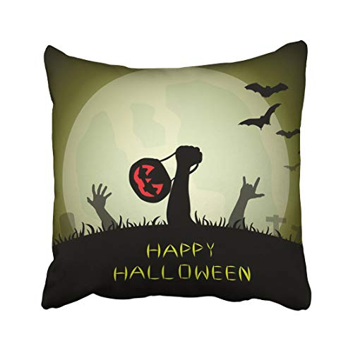Emvency Bat Zombie Hands Holding Pumpkin Basket and Love Sign Rising Out from The Grave in Halloween Night Dark Throw Pillow Covers 18x18 inch Decorative Cover Pillowcase Cases Case Two Side