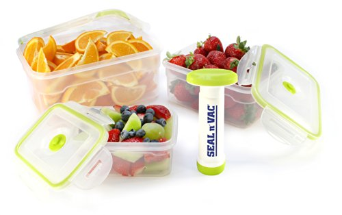 Seal n' Vac 7 pc. Rectangle Containers Set Includes 1.2 Cup, 5.1 Cup, 10.2 Cup and Pump (Pump N Seal compare prices)
