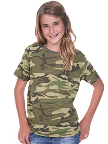 Kavio! Youth Camouflage Crew Neck Short Sleeve Tee Camo Army Green M