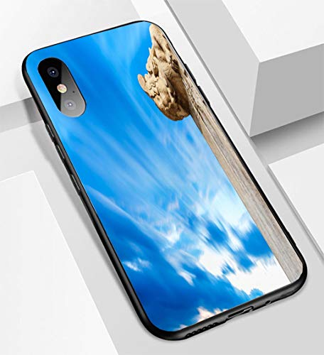 iPhone X/XS Ultra-Thin Glass Back Phone case,Beijing Forbidden City Stone Carving Dragon Soft and Easy to Protect The Protective case