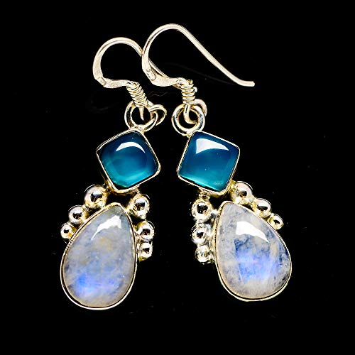 "Rainbow Moonstone, Aqua Chalcedony Earrings 1 1/2"" (925 Sterling Silver) - Handmade Boho Vintage Jewelry EARR381481 from Ana Silver"