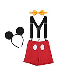 Baby Boy 1st Birthday Smash Suspenders Bowtie Bloomers Outfit+Mouse Ear Headband
