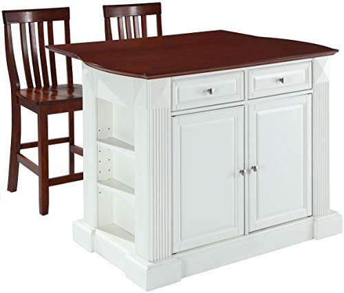 (Crosley Furniture KF300072WH Drop Leaf Kitchen Island/Breakfast Bar with 24-inch Schoolhouse Stools, White / Classic Cherry)