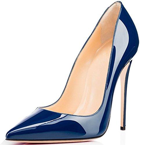 Toe On Heels Slip Heel Pointed Pumps Blue Eldof Dress Shoes Height 12CM Womens Pumps High Wedding fxvgBn