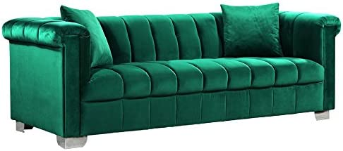 Meridian Furniture Kayla Collection Modern Contemporary Velvet Upholstered Sofa with Deep Channel Tufting and Custom Chrome Legs, Green, 90 W x 37 D x 31 H