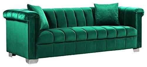 Meridian Furniture 615Green-S Kayla Channel Tufted Velvet Upholstered Sofa with Custom Chrome Legs, Green