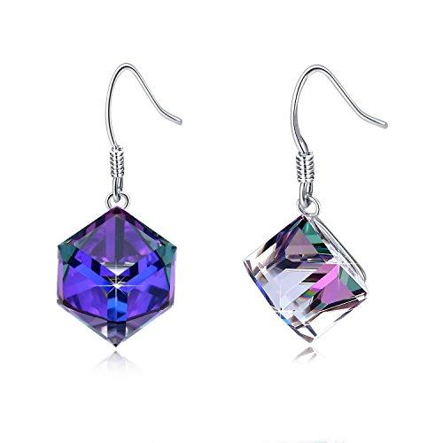 EleShow S925 Sterling Silver Earrings for Women Cube Earrings for Her Earrings Hypoallergenic Crystal from Swarovski (C_Purple Drop Earrings)