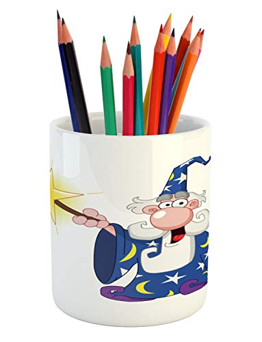 Ambesonne Wizard Pencil Pen Holder, Medieval Mage with a Crazy Face Expression Creating a Powerful Spell Clipart, Printed Ceramic Pencil Pen Holder for Desk Office Accessory, Multicolor