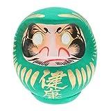 Japanese 4.5'' Green Fortune Daruma Doll for ''Good Health'' (Kenkoh), Made in Japan