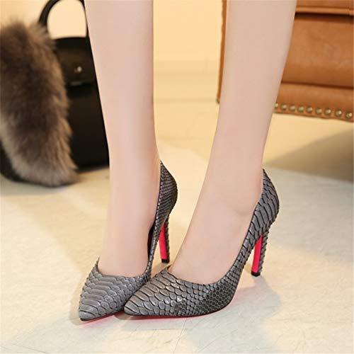 Dames Chaussures Pointues Talons Pompes Gris Serpent élégantes Sexy Partie modèle JRenok Peau Hauts Orteil Talons la Aiguilles Femmes de Mode yxzwOTZq