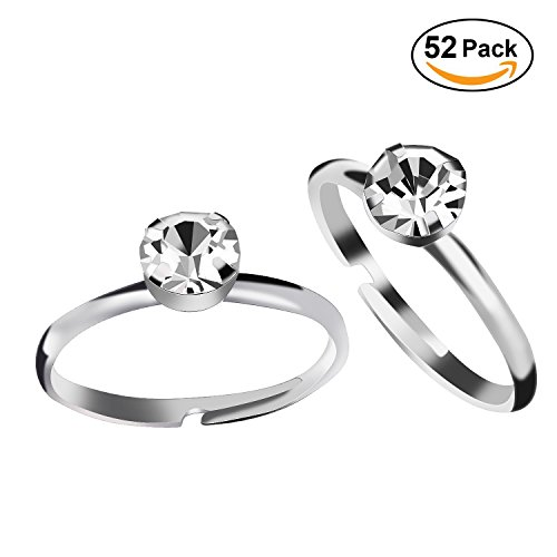 Price comparison product image Aboat 52 Pack Bridal Shower Rings Silver Diamond Rings for Party Supply Table Decorations Favor Accents