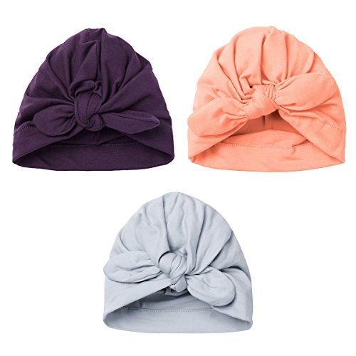 iEFiEL 3Pack Newborn Baby Soft Knot Rabbit Hospital Hat Cap Style B One Size
