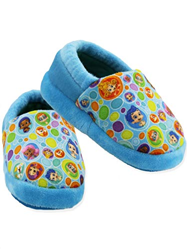 Bubble Guppies Toddler Boys Girls Plush A-Line Slippers (5-6 M US Toddler, Blue)