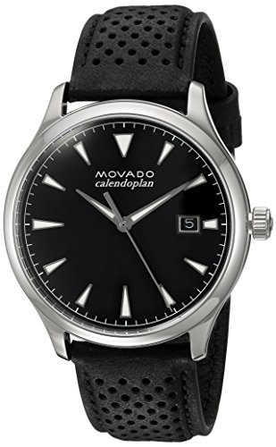 Movado Men's Swiss Quartz Stainless Steel and Leather Casual Watch, Color:Black (Model: (Mens Movado Series)