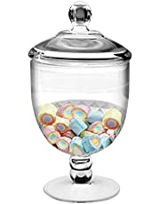 Frexmall Small Apothecary Jar with Airtight Lid in Premium Acrylic Plastic, Decorative Weddings Candy Buffet, Elegant Storage Jar, 36-Ounce