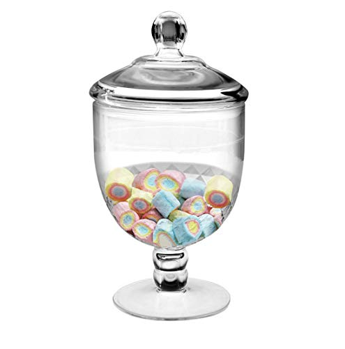 Frexmall Apothecary Jar with Airtight Lid in Premium Acrylic, Cookie Jar, Decorative Weddings Candy Buffet, Elegant Storage Jar, 40.5-Ounce ()