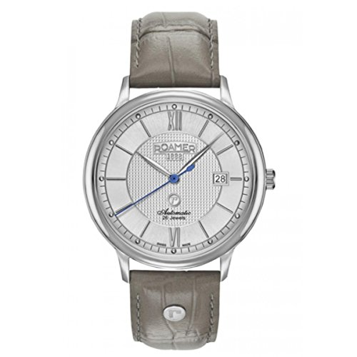 Roamer of Switzerland Men's R-Matic II 41mm Grey Leather Band Steel Case Automatic Watch 956660 41 13 09
