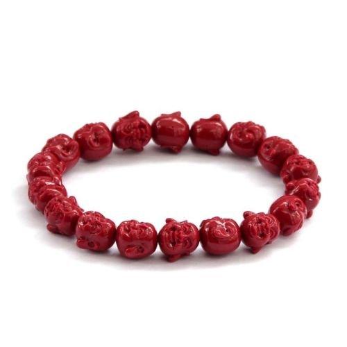 Tibet Coral Beads - Gozebra(TM) 10mm Red Coral Laughing Buddha Head Tibet Buddhist Prayer Beads Mala Bracelet