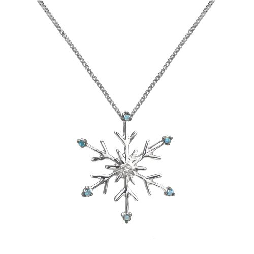 Sterling Silver Blue and White Diamond Snowflake Pendant 1 20 CTTW